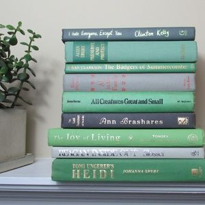Other - 9 Shades of Green and Gray Books Shelf Decor Lot